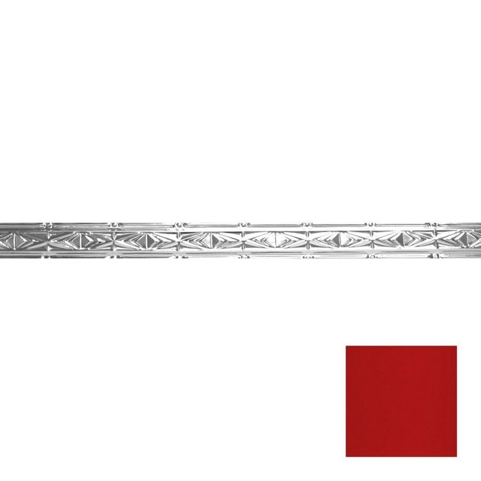Tin Plated Stamped Steel Cornice | 3-1/2in H x 3in Proj | Fire English Red Finish | 4ft Long
