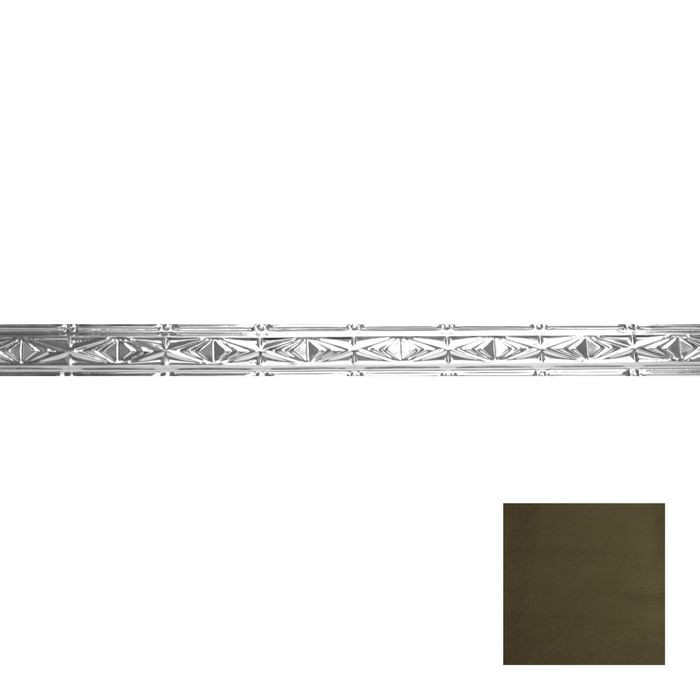 Tin Plated Stamped Steel Cornice | 3-1/2in H x 3in Proj | Antique Sage Finish | 4ft Long