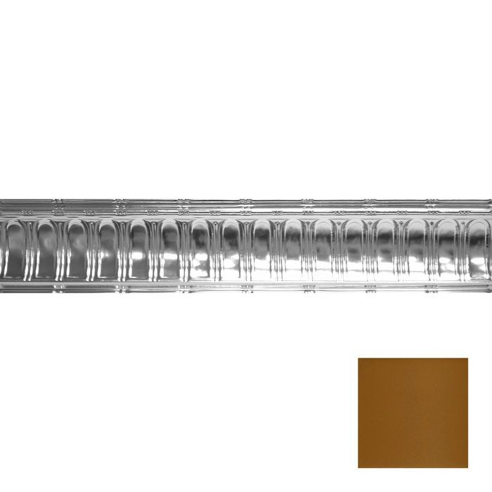 Tin Plated Stamped Steel Cornice | 6in H x 6in Proj | Champagne Finish | 4ft Long