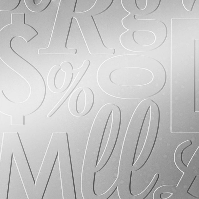 10' Wide x 4' Long Alphabet Soup Pattern Mirror Finish Thermoplastic Flexlam Wall Panel