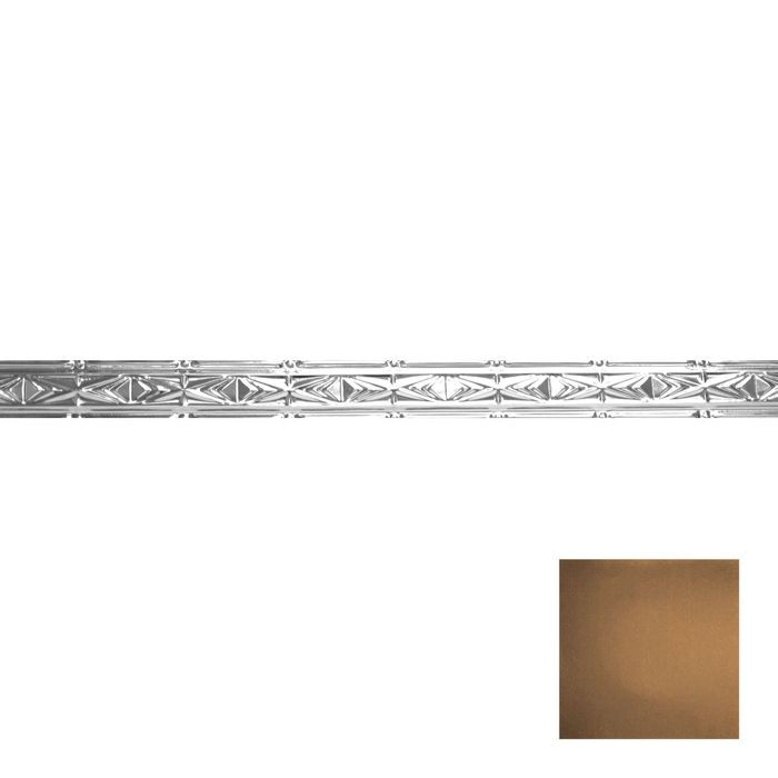 Tin Plated Stamped Steel Cornice | 3-1/2in H x 3in Proj | Antique Expresso Finish | 4ft Long