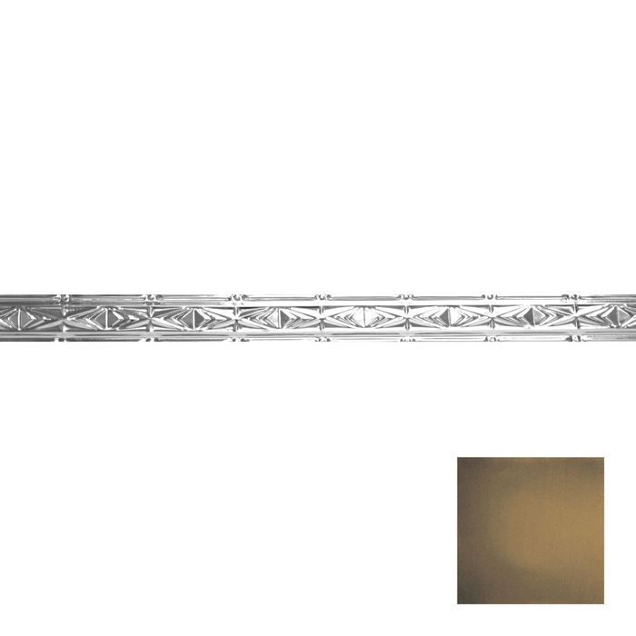 Tin Plated Stamped Steel Cornice | 3-1/2in H x 3in Proj | Midnight Gold Finish | 4ft Long