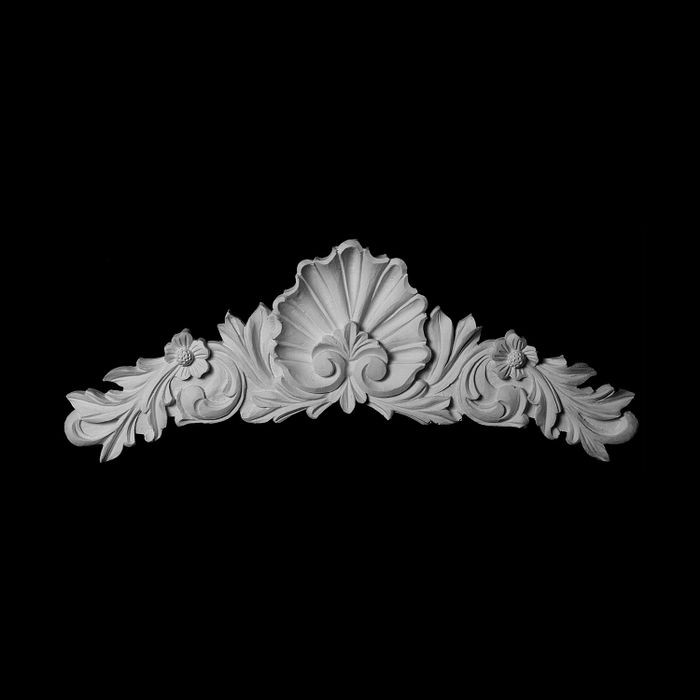 "14"" Wide x 4-1/4"" High Unfinished Polymer Resin Cartouche Applique"