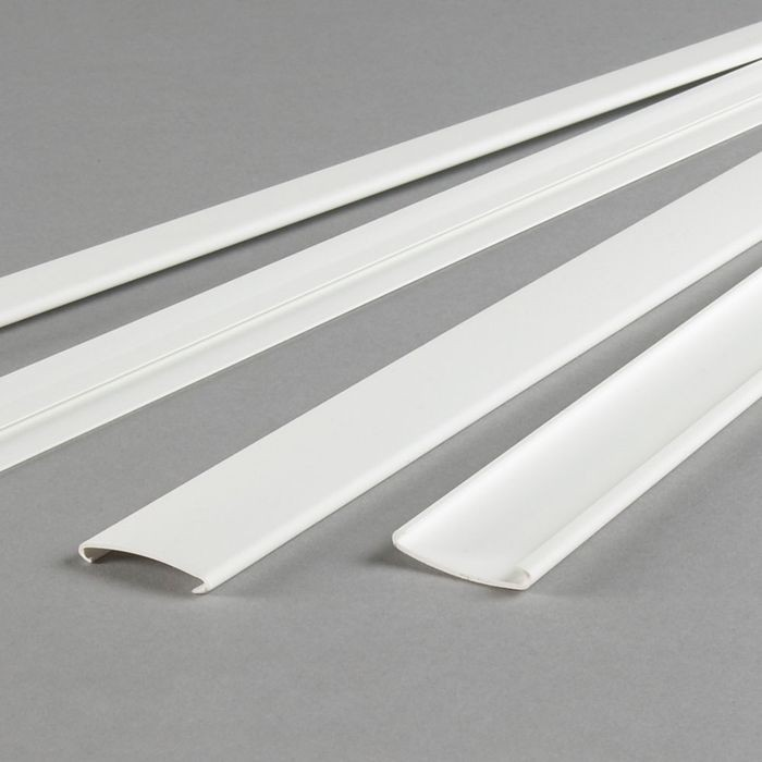 "White Thermoplastic PVC GridMax Snap-On Tee Cover for 15/16"" T-Bar Suspension Grid 4' Length"