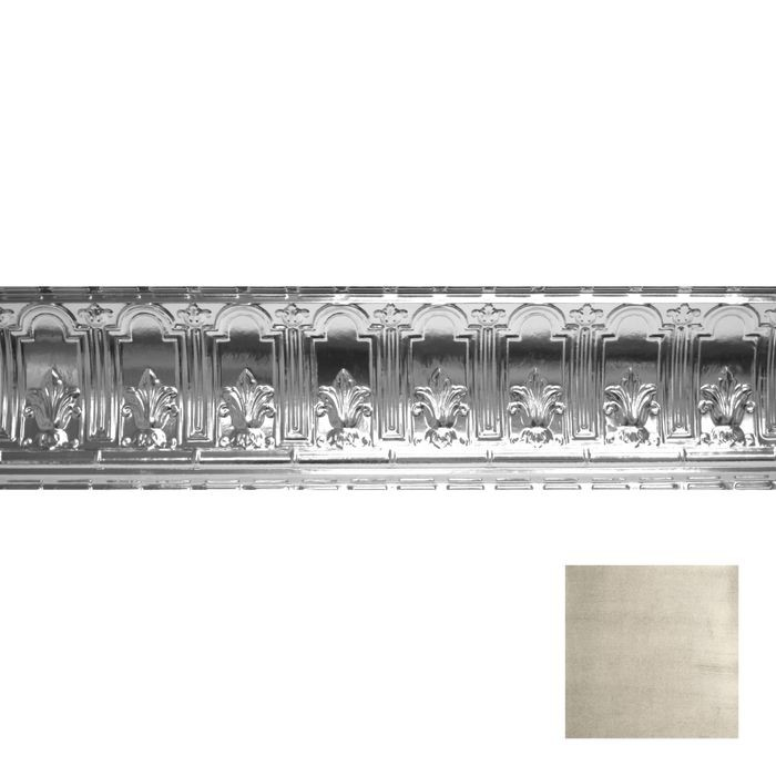 Tin Plated Stamped Steel Cornice | 9-1/2in H x 9-1/2in Proj | Antique White Finish | 4ft Long
