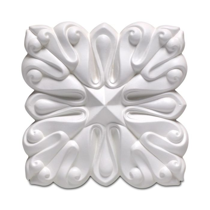 "4-1/4"" Wide x 4-1/4"" High Primed White Polyurethane Lotus Rosette Applique"