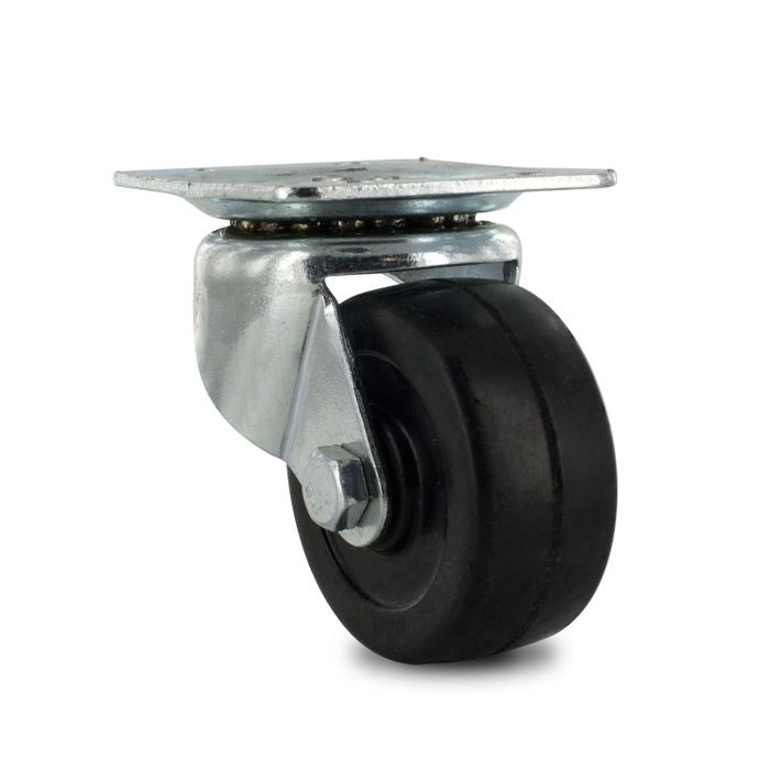 2in Dia | Black Swivel Import Series Industrial Caster | 1-7/8in x 2-5/8in Top Plate