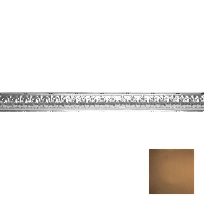 Tin Plated Stamped Steel Cornice | 3-1/2in H x 3-1/2in Proj | Antique Expresso Finish | 4ft Long