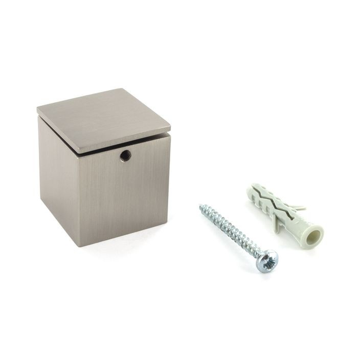 1-1/4in Sq x 1-1/4in Barrel Length | Brushed Nickel Finish | Cubby Series Tamper Proof Cubed Standoff