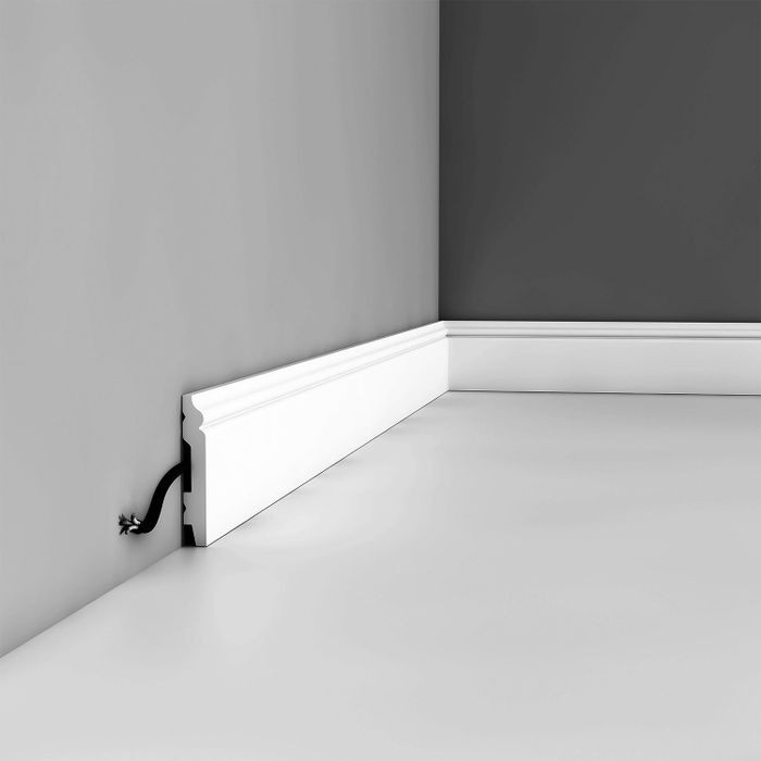 Orac Decor | High Impact Polystyrene Baseboard Moulding | Primed White | 2-3/4in H x 78in Long
