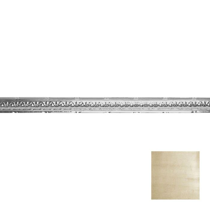 Tin Plated Stamped Steel Cornice | 2-1/2in H x 2-1/2in Proj | Antique Cream Finish | 4ft Long