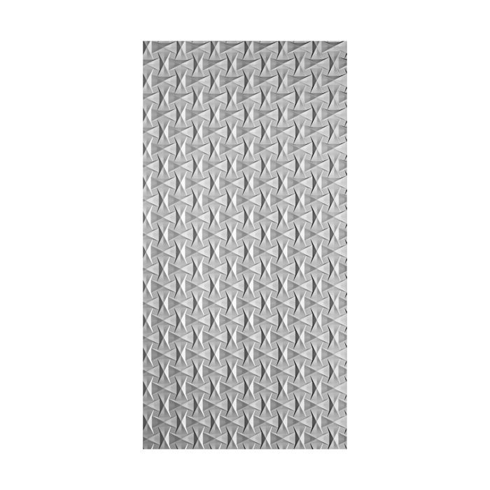 10' Wide x 4' Long Bowtie Pattern Argent Silver Finish Thermoplastic Flexlam Wall Panel