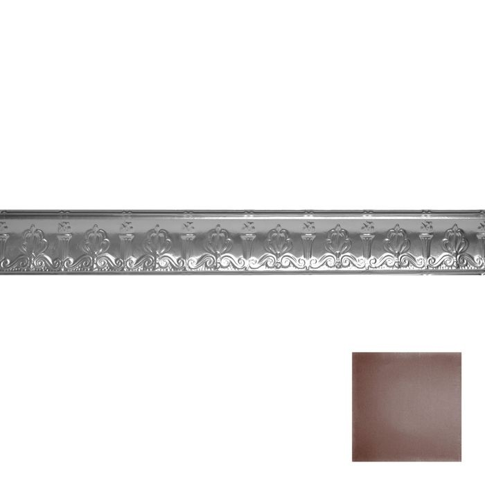 Tin Plated Stamped Steel Cornice | 4in H x 4in Proj | Classic Burgundy Finish | 4ft Long