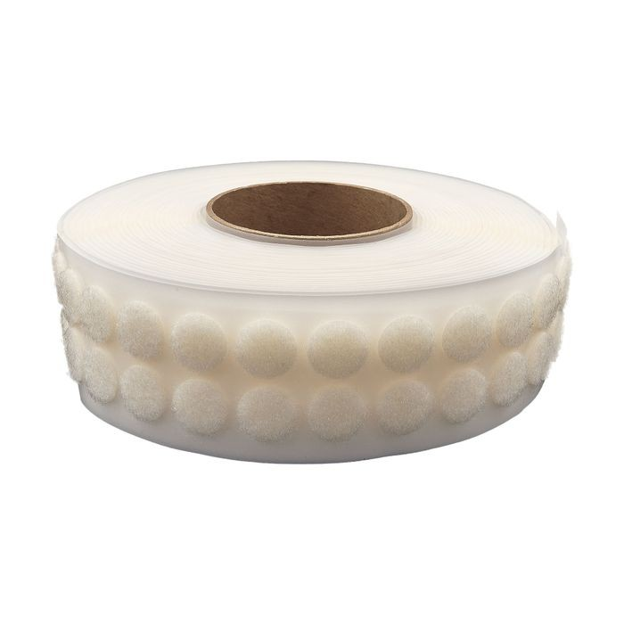 "1/2"" Diameter White Standard Grade Velcro Loop Fastening Coin 1440 Pieces Per Roll"