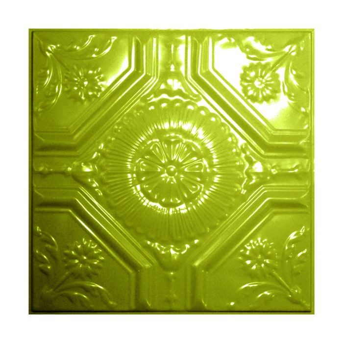 Tin Plated Stamped Steel Ceiling Tile | Lay In | 2ft Sq | Sour Apple Finish