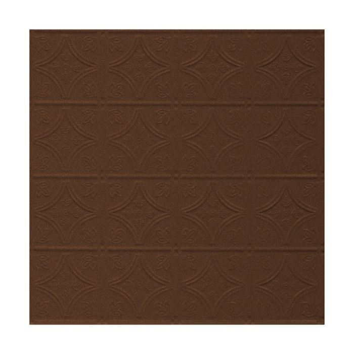 Tin Plated Stamped Steel Ceiling Tile | Lay In | 2ft Sq | Weathered Brown Finish