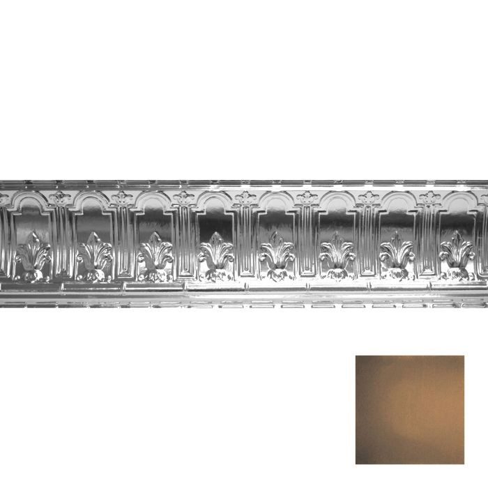 Tin Plated Stamped Steel Cornice | 9-1/2in H x 9-1/2in Proj | Antique Rustic Black Finish | 4ft Long