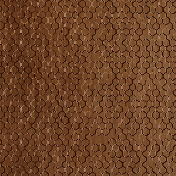 10' Wide x 4' Long Beehive Pattern Pearwood Finish Thermoplastic Flexlam Wall Panel
