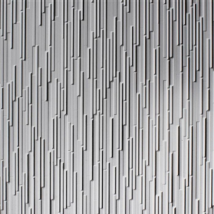 10' Wide x 4' Long Glacier Pattern Brushed Aluminum Finish Thermoplastic FlexLam Wall Panel