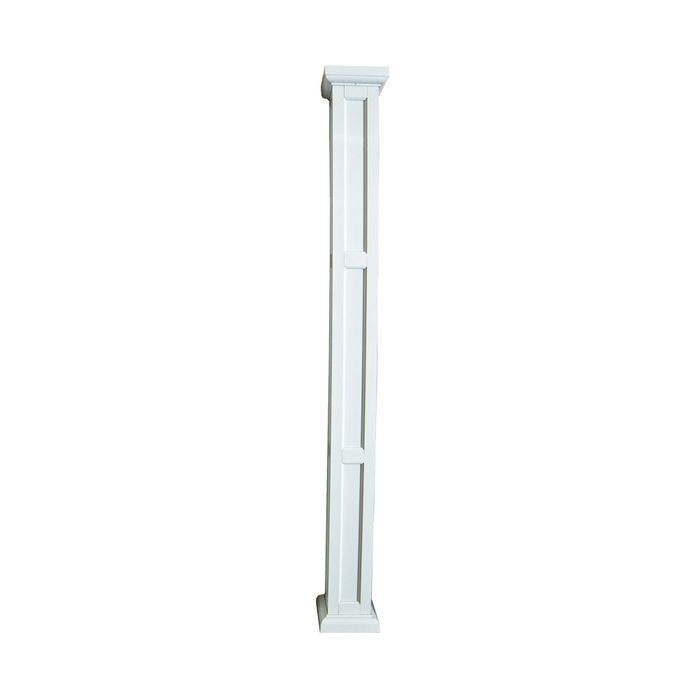 "10' High x 6"" Wide White Semi-Gloss Heritage Aluminum Square Panel Column"