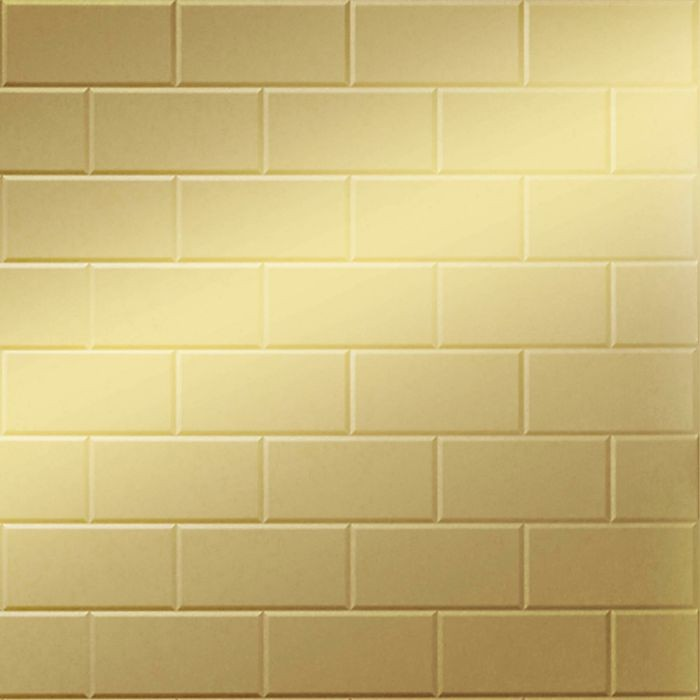 FlexLam 3D Wall Panel | 4ft W x 10ft H | Subway Tile Pattern | Mirror Gold Finish