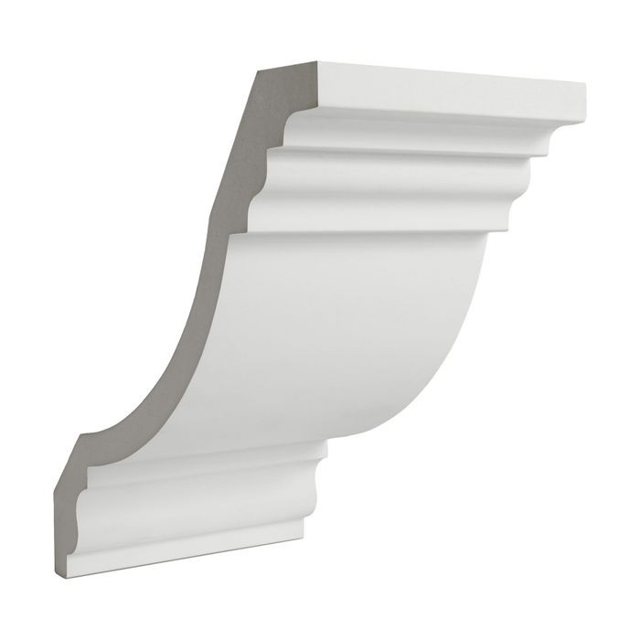 14in Face x 9-13/16in H x 9-13/16in Proj | Primed White Polyurethane | Crown Moulding | 6in Sample Piece