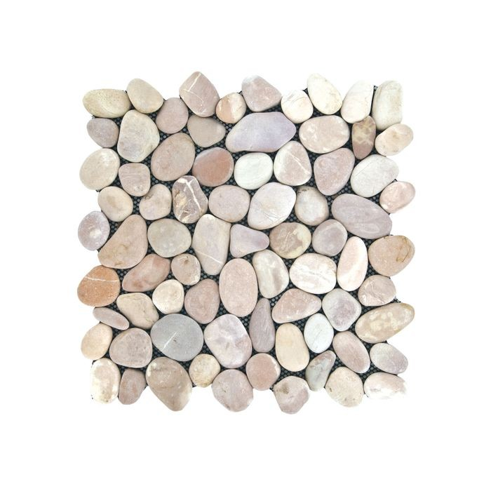 "12"" Wide x 12"" High Mauve Tones 4-Sided Interlocking Round Laying Stone Tile"