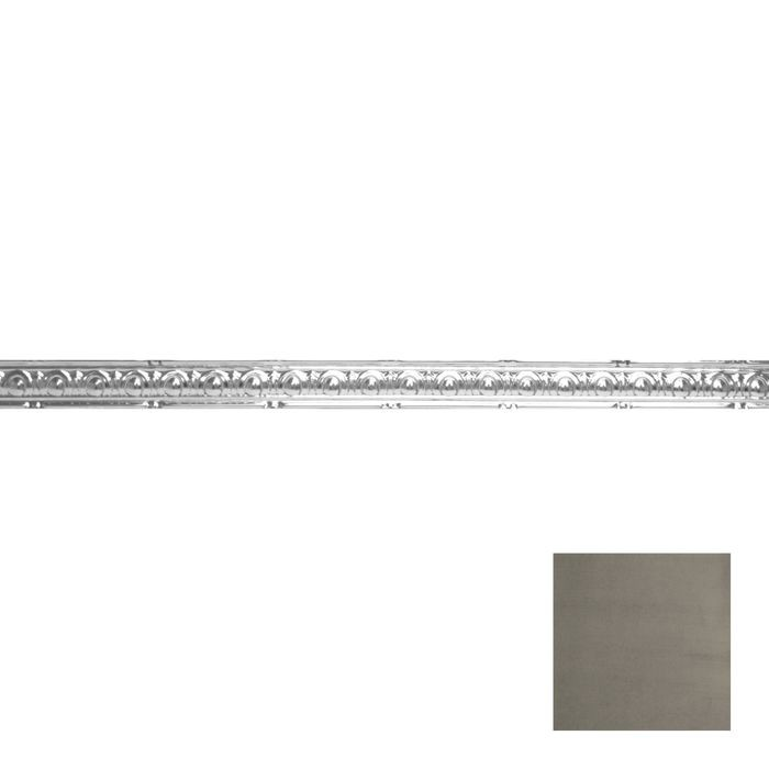 Tin Plated Stamped Steel Cornice | 2in H x 2in Proj | Antique Pewter Finish | 4ft Long