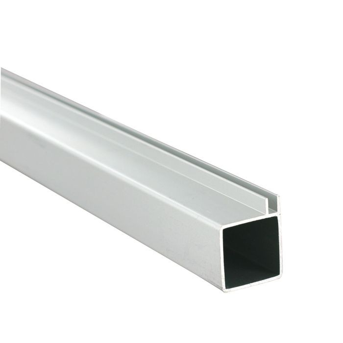 1in Sq Panel Connector Tubing | Clear Anodized Aluminum | Single Channel Fits 1/8in Panels | 8ft Length
