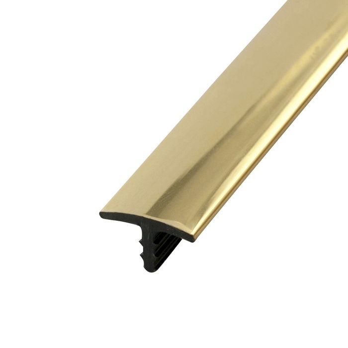 1/2in Polished Brass Rigid ABS with Mylar Film | Straight Edge Metallic Tee Moulding | 12ft Length