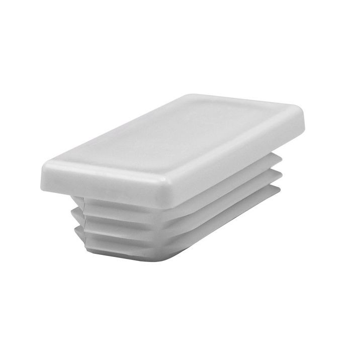"1"" x 2"" Rectangular 11 - 19 Gauge White Matte Finish Low Density Polyethylene Plastic Universal Gauge Inside End Cap for Tubing"
