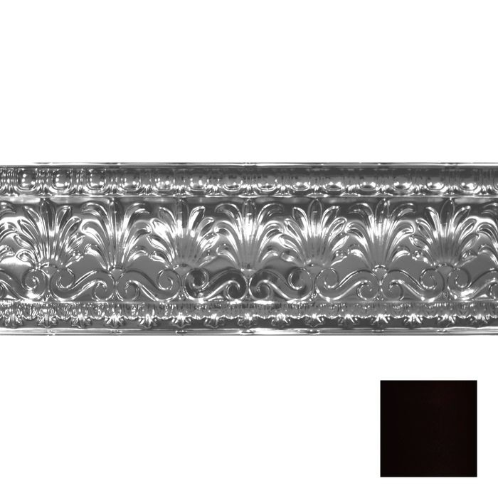 "10-1/2"" High x 10-1/2"" Projection Black Finish Decorative Stamped Steel Cornice Moulding 4' Length"