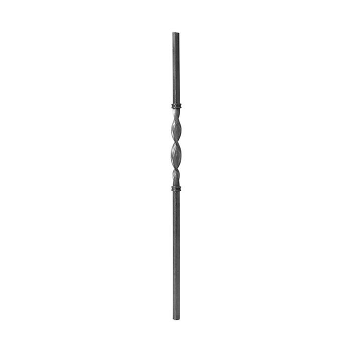 "1-3/16 Square x 43-1/4"" H x 11-1/2"" Wrought Iron Newel Post-12-1/2"" Twist"