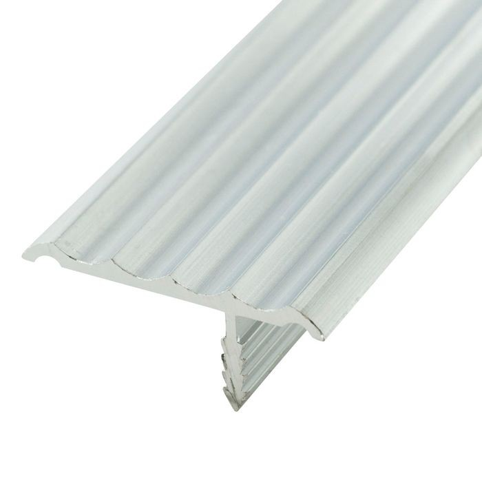 1-1/4in Mill Finish | Rigid Aluminum | Offset Barb Rippled Tee Moulding | 12ft Length