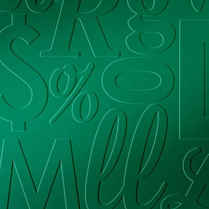 10' Wide x 4' Long Alphabet Soup Pattern Mirror Green Finish Thermoplastic Flexlam Wall Panel