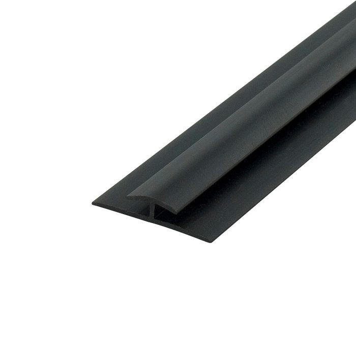 1/8in Black Styrene | Divider Moulding With Adhesive | 8ft Length