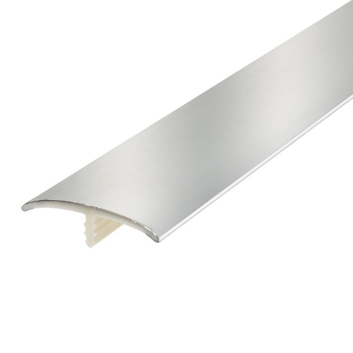 1-1/4in Polished Chrome Flexible PVC | Metallic Tee Moulding | 100ft Coil