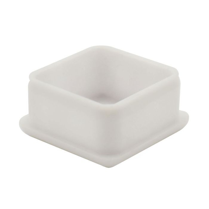 "1"" Square 18 Gauge White Matte Finish ABS Plastic Inside End Cap for Tubing"