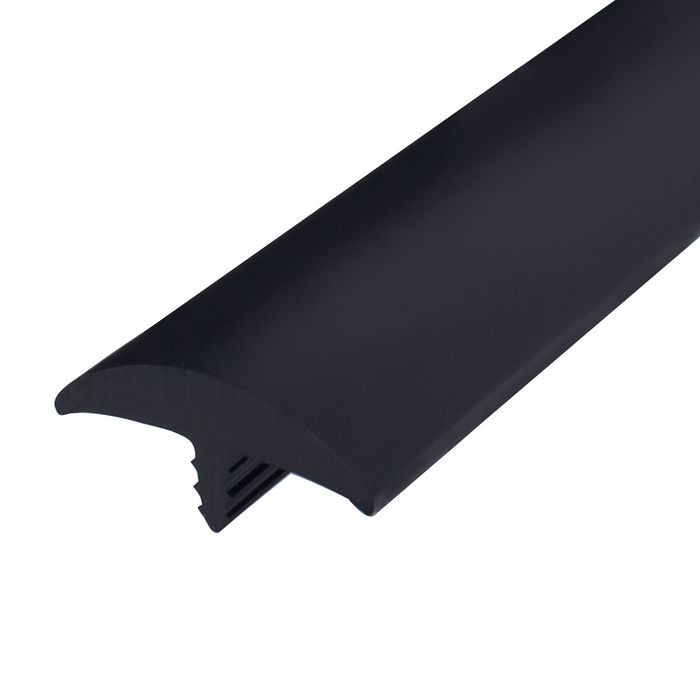 1-1/2in Black Flexible PVC | Round Bumper Tee Moulding | 100ft Coil