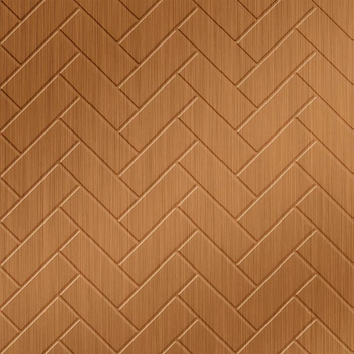 10' Wide x 4' Long Herringbone Pattern Brushed Copper Finish Thermoplastic Flexlam Wall Panel