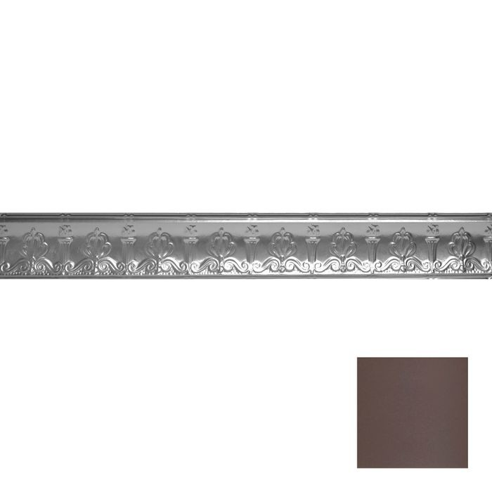 Tin Plated Stamped Steel Cornice | 4in H x 4in Proj | Titanium Finish | 4ft Long