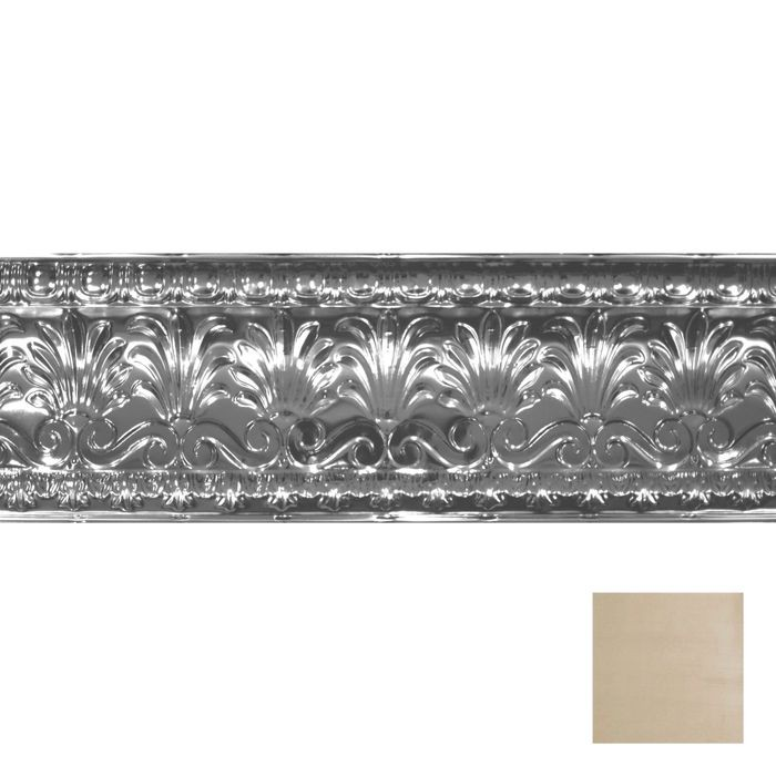 "10-1/2"" High x 10-1/2"" Projection Antique White Gold Finish Decorative Stamped Steel Cornice Moulding 4' Length"