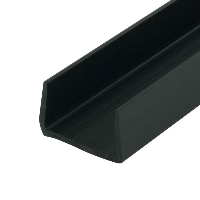 1-1/16in | Black Rigid Styrene | U Channel Moulding | 12ft Length