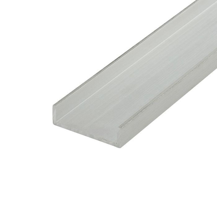 1in | Mill Finish | Aluminum U Channel Moulding | 12ft Length