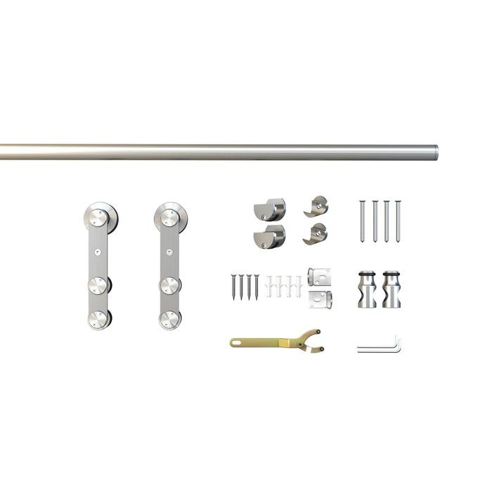 Sliding Barn Door Hardware Kits for Single Wood Doors Up to 39in W | Stainless Steel Finish | Non Routed | 78-3/4in Rail Length | SW12 Series