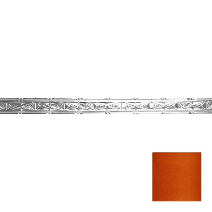 Tin Plated Stamped Steel Cornice | 3-1/2in H x 3in Proj | Lincoln Copper Finish | 4ft Long