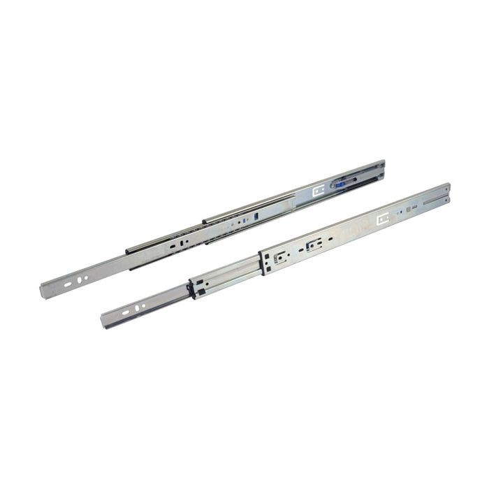 "12"" Clear Zinc Cold Rolled Steel 100lb. Capacity Soft Close Full Extension Drawer Slide"