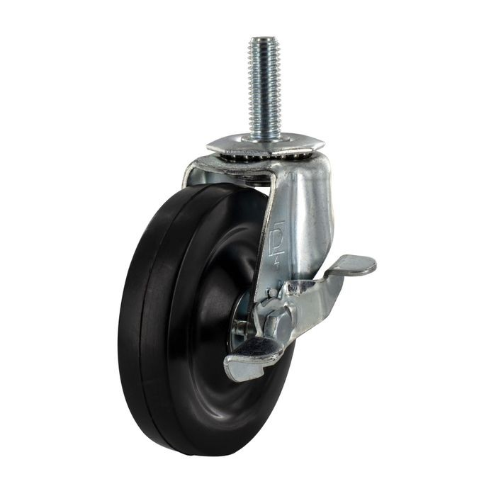 4in Dia x 1in Tread Width | Zinc Plated Steel Swivel with Brake Summit Series Industrial Caster | 1/2-13 x 1-1/2in Threaded Stem