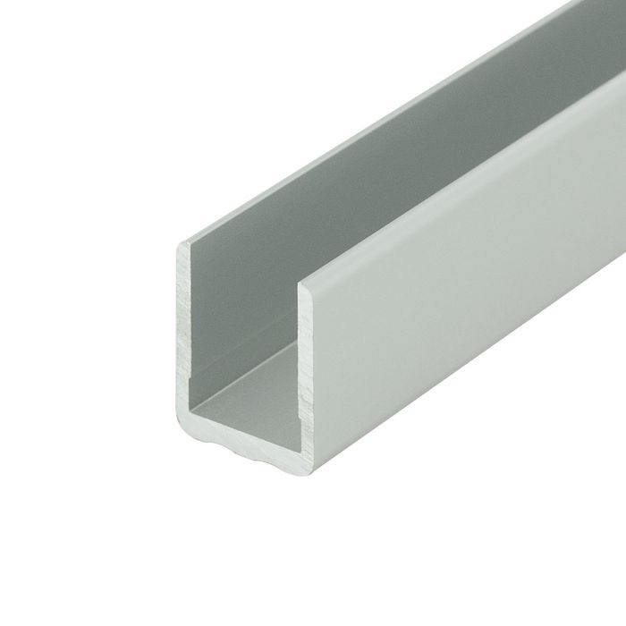 1/2in | Clear Anodized (Satin) Finish | Aluminum No Bow Shelf U Channel Moulding | 8ft Length