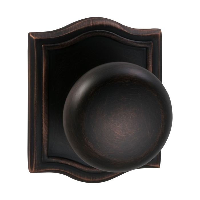 Tuscan Bronze Arched Rose Backplate Interior Single Dummy Knob Latchset
